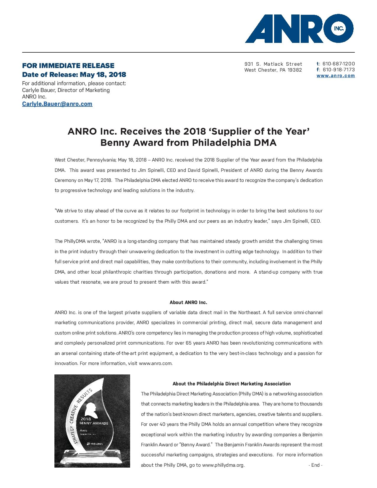 ANRO Inc. Receives the 2018 'Supplier of the Year'